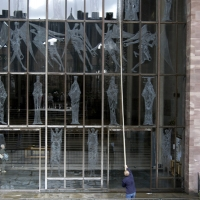 Coventry Cathedral - cleaning the soaring porch