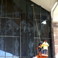 Coventry Cathedral - Using a cherry picker and water fed pole